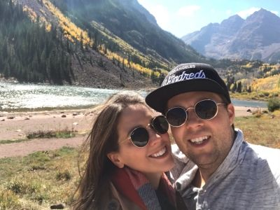Hannah Van Roekel and her husband on a hike